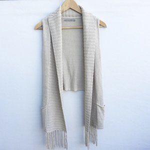 Rubbish BOHO Open Front Knit Vest Pockets Fringe S